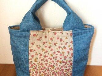 【送料込】ダブルガーゼのふんわりバッグ*ちいさいお花*の画像