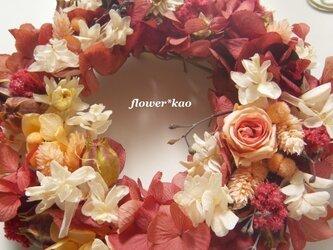 煉瓦色*小花のリース**preservedの画像