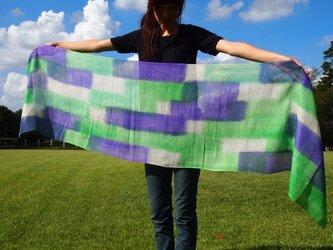 国産シルク100%手染めストール -green&violet-の画像