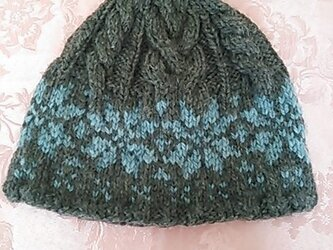 ふわふわニットのお帽子(グレー&ブルー)の画像