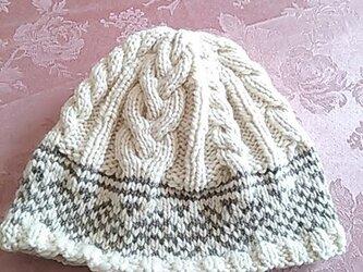 ふわふわニットのお帽子(オフホワイト&グレー茶)の画像