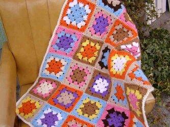 モチーフ編みブランケット*パステル/カラフルの画像