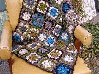 モチーフ編みブランケット*モスグリーンの画像