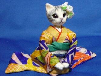 もも様御予約品☆大振袖のサバトラ猫さんの画像
