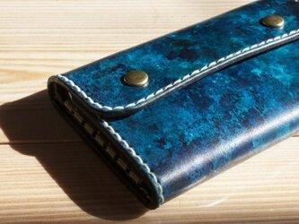 [革の水彩画] 蒼翠色のキーケース3の画像