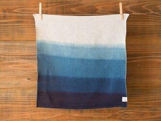 【受注生産】本藍絞り染め リネンハンカチ(グラデーション)の画像