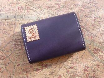 本ヌメ革 ファスナー付き財布(紺)の画像