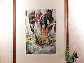 『旅猫と星とふくろう森』ジークレー画 額装品の画像