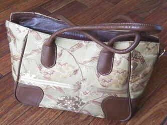 【夏の終わりセール50%オフ】和帯×革ハンドバッグの画像