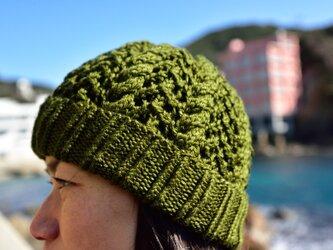 ケーブル帽(グリーン)の画像