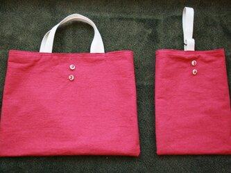通園通学バッグ+靴袋 いちごとピンクの好きな女の子への画像