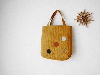 [受注製作]刺し子のドットバッグ・ミニ<柿の種色×ランダムD>の画像