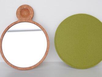 マホガニーの手鏡の画像