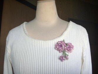 <sold>桜咲く♪八重桜のコサージュ★ピンクモーブの画像