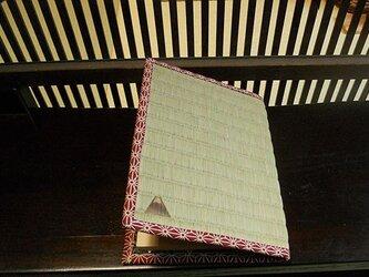 四方縁 畳ブックカバー富士山~麻の葉縁 えんじ~文庫サイズの画像