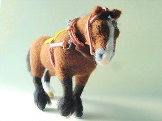 【羊毛フェルト】鹿毛のばん馬の画像