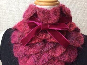 うろこ編みのサンカクミニマフラー レッドの画像