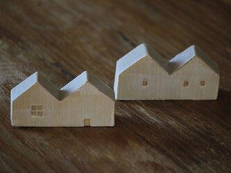 家の形の箸置き(2つ屋根グレイ)の画像