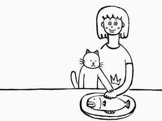 ボクノサカナ 女子 【 猫 選べます Tシャツ 】の画像