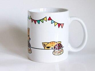 受注生産!! 猫マグカップ『はぴば』の画像