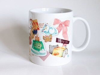 受注生産!! 猫マグカップ『コラージュ リボン』の画像