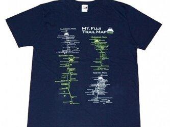 富士山トレイルマップ(登山道)Tシャツ (S~2XLサイズ) ネイビーの画像