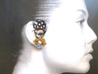 スワロフスキー社製キュービックジルコニア × 3種フェザーのイヤリングの画像
