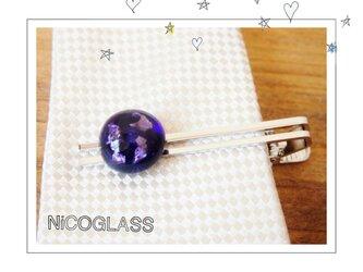 旦那様へ、恋人へ♪銀箔入りネクタイピン・紫の画像