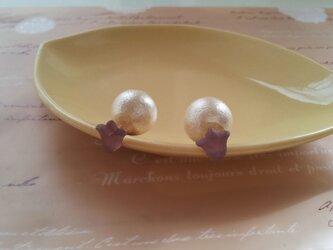 チューリップにコトンパールキャッチ(紫)の画像