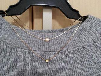 コットンパールとチャームのネックレス(3)の画像