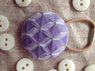 スモッキング刺繍くるみボタンのへアゴム S-14の画像