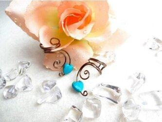 イヤーカフハートターコイズ アラベスク (片耳)の画像