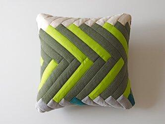 cushion / herringbone (green)の画像
