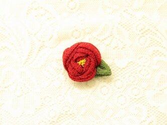 花言葉ブローチ 椿/赤の画像