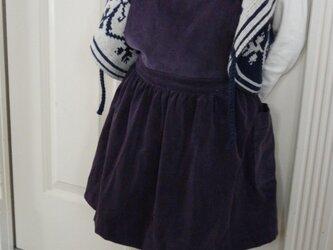 グレープ色コーデュロイのエプロンスカート(ジャンパースカート)の画像
