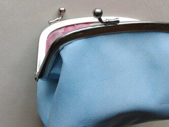 空色ポーチ(牛革)*ライトブルー x 桜模様の画像