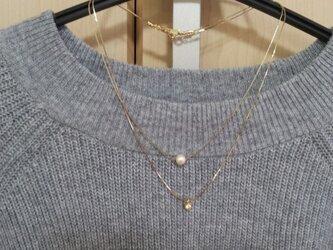 コットンパールとキュービックジルコニアの2連ネックレスの画像