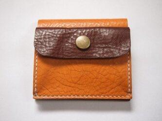 ふたつ折りのお財布[キャメル×チョコ]の画像