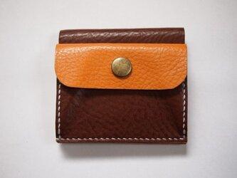 ふたつ折りのお財布[チョコ×キャメル]の画像