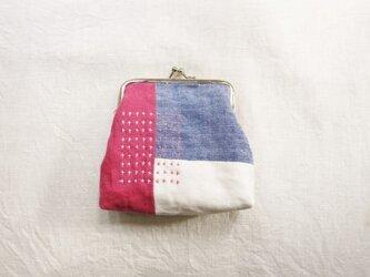 がま口ポーチ pink&blueの画像