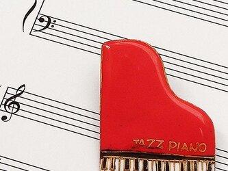 七宝焼ブローチ ピアノ(赤)※文字あり・なし両方対応の画像