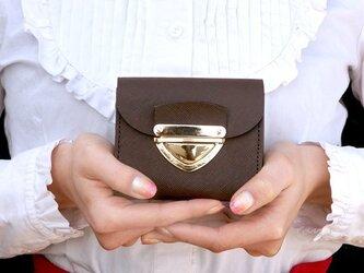 クラッチ・ミニ財布 P式プリズムレザー・チョコの画像