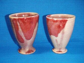 ワインレッドのカップペアの画像
