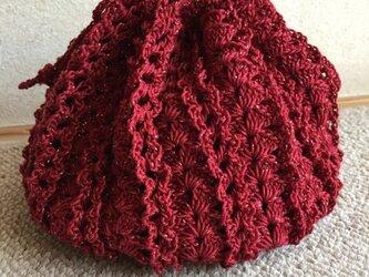 かぎ針編みの巾着袋(赤)売約済みの画像
