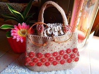ビーズ編みバッグ-lunch bag(ルビー)の画像