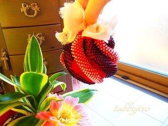ビーズ編み巾着-spiral pouch(赤)の画像