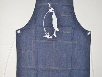 デニム素材のペンギンエプロン, penguin, 送料無料の画像