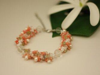 パールトピンク珊瑚ノブレスレットの画像