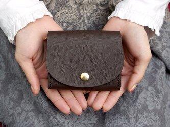 ペアシェイプ・ミニ財布 プリズムレザー・チョコの画像