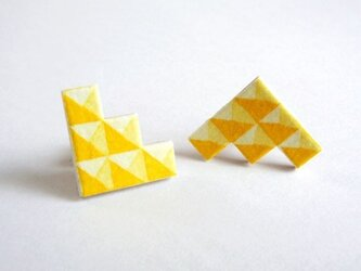 :Sale: ブロック柄ピアス  S <Yellow>の画像